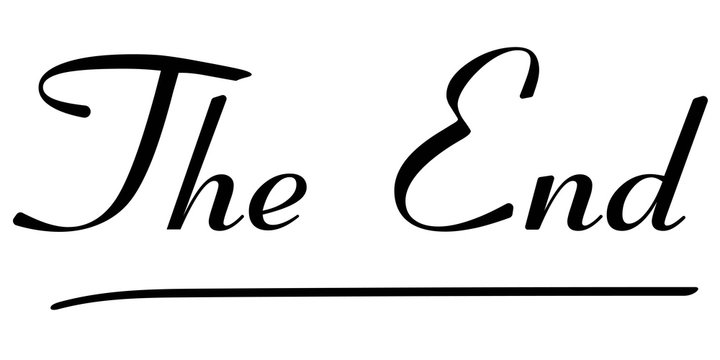 The End Tag lettering Calligraphy inscription