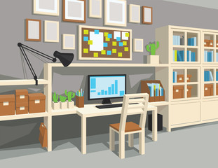Interior of workroom in cartoon style.