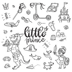 Little prince funny graphic set. Boy in armor and cloak, sword, dragon, scooter, the pirate chest, castle, dog, boys treasures, Isolated elements on a white background