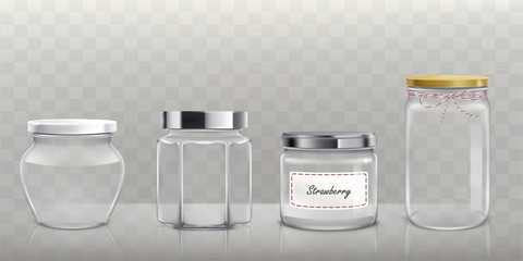 Set of vector empty glass jars with lids in realistic style