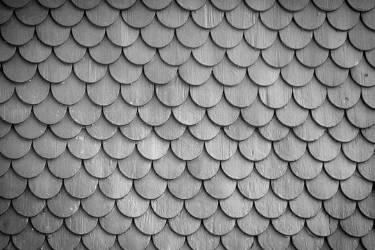 Monochrome wood tiling roof wall texture background