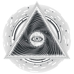 Vector tattoo illustration abstract sacred geometry with an all-seeing eye.
