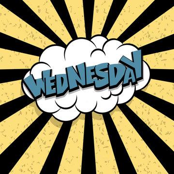Comic text wednesday cartoon cloud retro