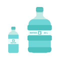 Vector illustration of 20 liter and 1 liter bottle of water