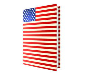 book in color of american flag isolated on white, 3d illustration