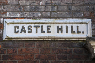 Castle Hill Street Sign in Lincoln, UK