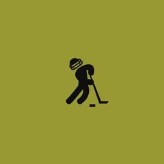 Hockey player icon. flat design