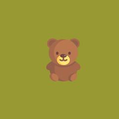 bear toy icon. flat design