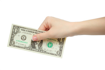 woman hand holding one dollar isolated on white background