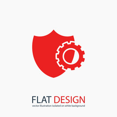 setting parameters,  Shield icon, vector illustration. Flat design style