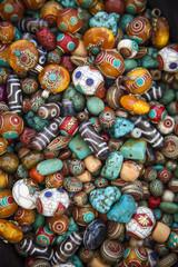 Detail of stones at the Tibetan market in the Wednesday Flea Market in Anjuna, Goa, India.