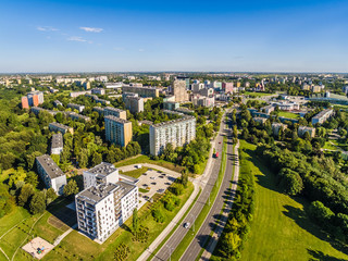 Lublin z lotu ptaka. Zabudowania Lublina przy ulicy Filaretów