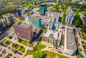 Lublin z lotu ptaka. Zabudowania Lublina przy ulicach Filaretów i Zana