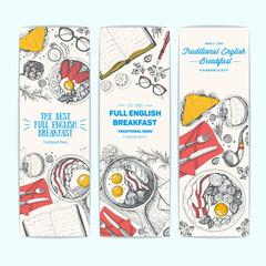 English breakfast vintage design template. Vertical banners set. Vector illustration hand drawn linear art. English cuisine restaurant menu. Hand drawn sketch.