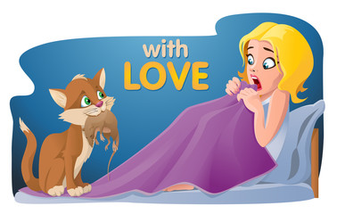 The gift. With love. Funny cat holding rat. Girl shocked. Cartoon styled vector illustration. Elements is grouped and divided into layers. No transparent objects.