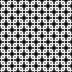 Vector monochrome seamless texture, simple endless geometric pattern, repeat tiles. Illustration with rounded figures, squares, rhombuses, crosses. Design element for prints, decor, textile, cover