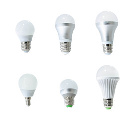 set of LED bulbs on white background, collection of different kind of light bulbs, led, bulb, energy saving LED light bulb, light lamps,
