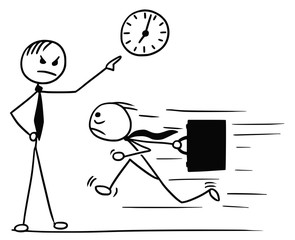 Cartoon of Man Running Late for Work and his Boss Pointing at Wall Clock