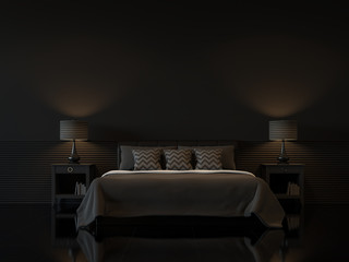 Modern bedroom interior with empty black wall 3d rendering image.There are minimalist style decorate room with black furniture,floor,wall