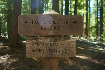 "Pacific Crest Trail Sign reading: Pacific Crest Tr, NO. 2000, Timothy Lake 1/2, Wapinitia Pass 7 1/2"", with some lens flare."