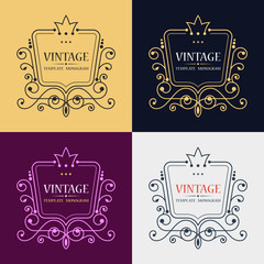Gold decorative frame. Vector logo templates. Monogram, initials, jewelry. Elegant emblem logo for restaurants, hotels, bars and boutiques. It can be used to design business cards, invitations.