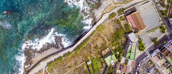 Aerial overhead view of coastline