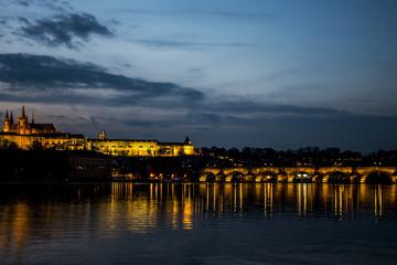 Czech Republic Prague Charles Bridge Castle Cathedral sunset capitol city