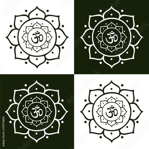 Vector om symbol and lotus flower mandala illustration stock image vector om symbol and lotus flower mandala illustration mightylinksfo