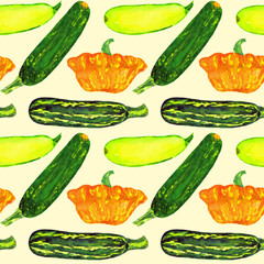 Zucchini and squash variety, seamless pattern hand painted watercolor illustration (soft yellow)