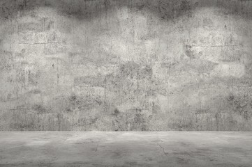 Empty wall. Concrete wall and floor with lights / empty space for your design. Digital generating image.