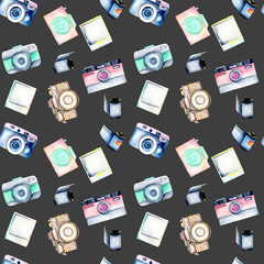 Seamless pattern with watercolor retro cameras, snapshots and films, hand drawn isolated on a dark background