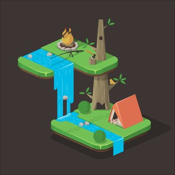 camping illustration, treehouse style camping site