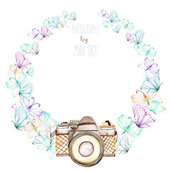 Circle frame, wreath with watercolor tender butterflies and camera, hand drawn on a white background,  invitation, greeting card, wedding, logo design