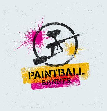 Paintball Marker Gun Vector Splat Banner on Grunge Background