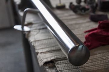 Stainless steel  pipe - handrail on work table