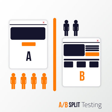 A, B split testing. Two sites view with different information blocks.