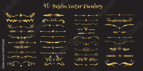 fb3a7db1a4e0 Set of handdrawn golden divide borders in ink. Swirls and dividers for  design. Vector