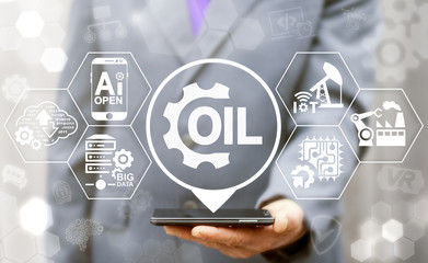 Oil industry drilling exploration integrated iot business concept. Fuel industrial gasoline production. Crude manufacturing modernization robotic and automation IT technology