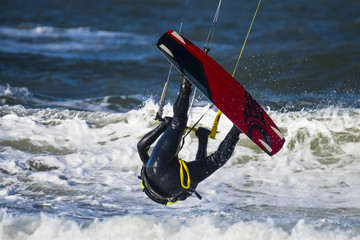 Kitesurfer Upside down