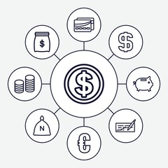 Set of 9 banking outline icons