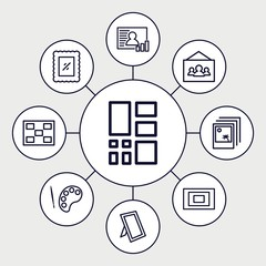 Set of 9 gallery outline icons