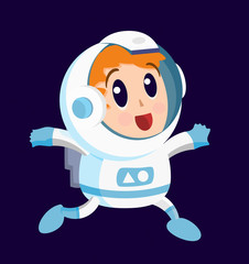 Cute Astronaut on the Space . Isolated Vector Elements