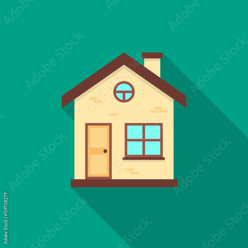House icon with long shadow flat design style house for Easy house design app