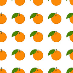 Vector seamless pattern background with hand drawn oranges in vintage style. On white.