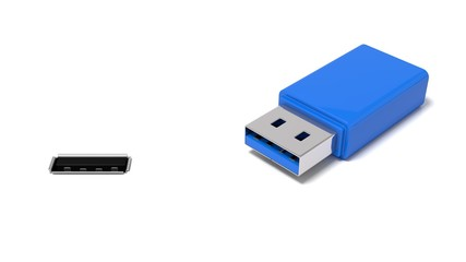 3d illustration of usb port and simple usb stick.