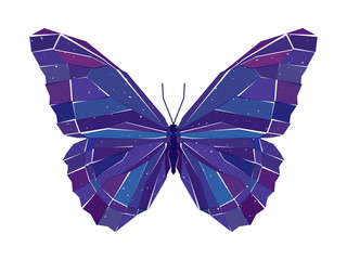 Geometric mosaic blue butterfly. Vector illustration