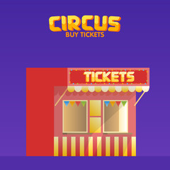 Circus and cinema tickets booth shop vector illustration