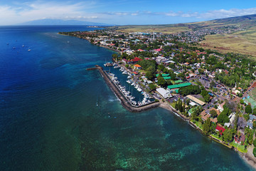 Aerial View - Lahaina Harbor / Lahaina Town - Island of Maui, Hawaii