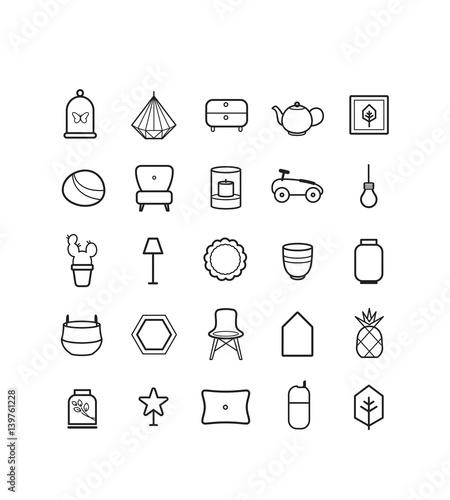 Design, Objet, Architecte Intérieur, Décoration Intérieure, Mobilier, Objet,  Picto, Vecteur, Icône, Dessin, Trait