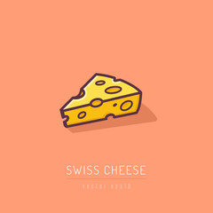 Emmental Swiss cheese vector icon illustration